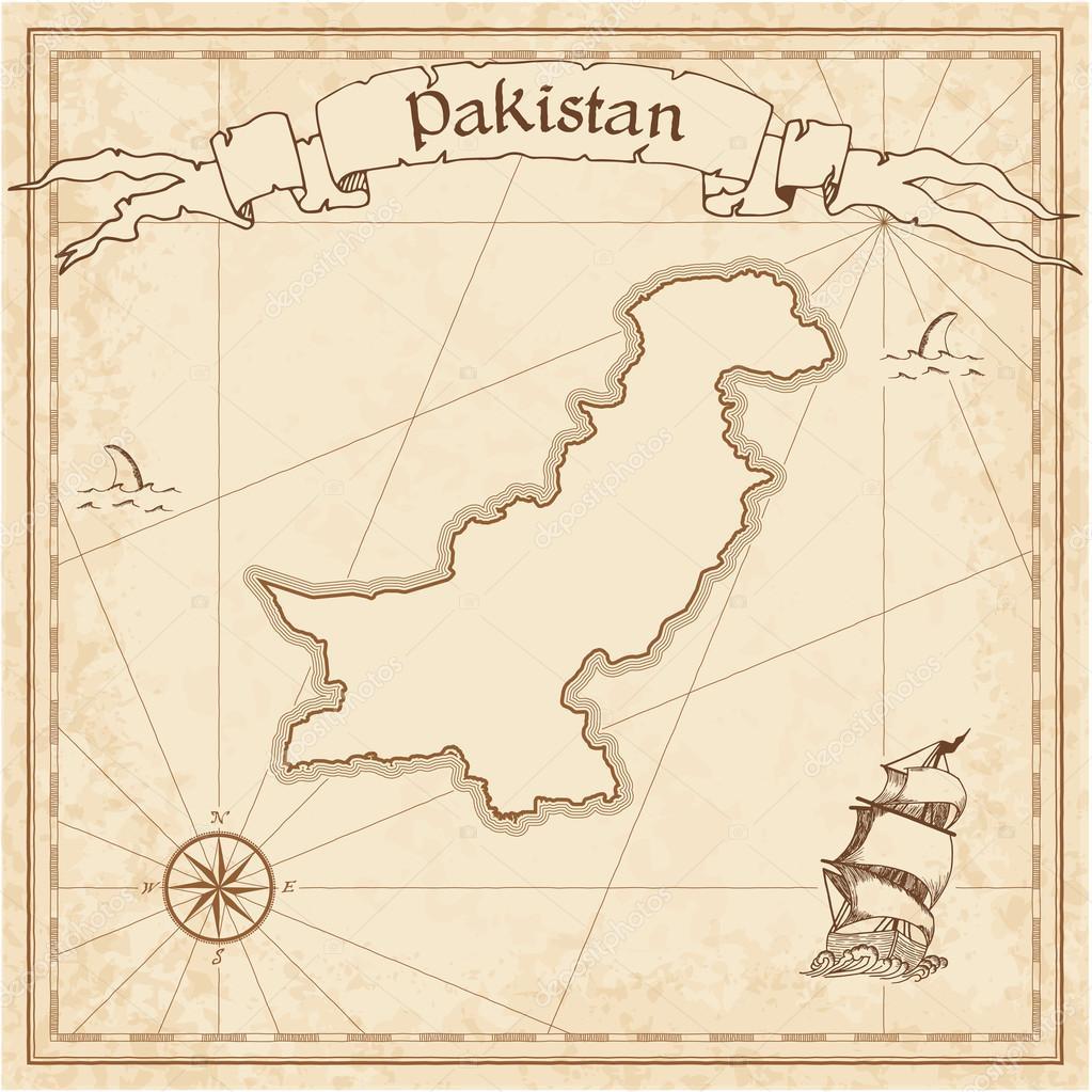 Pakistan Old Treasure Map Stock Vector