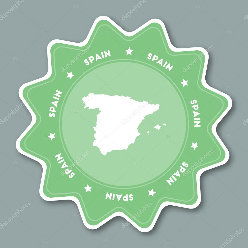 Map Of Spain To Label.Spain Map Sticker In Trendy Colors Stock Vector C Gagarych 114595530