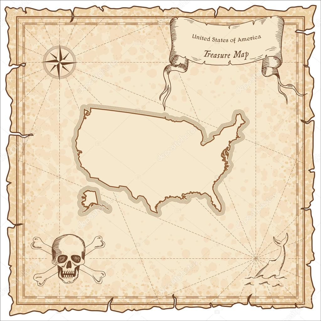 Vereinigten Staaten alte Piraten-Karte — Stockvektor © gagarych ...