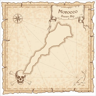 Morocco old pirate map.