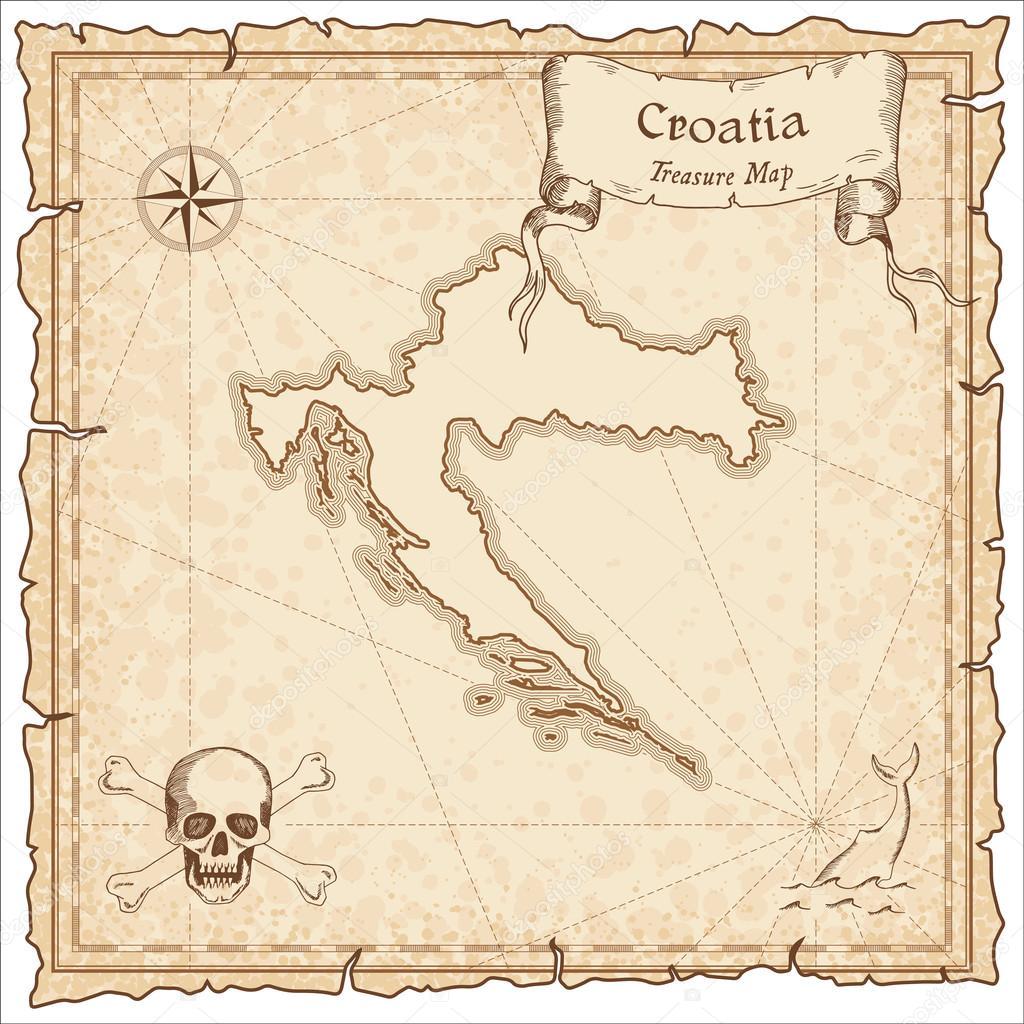 Carte Ancienne Croatie.Ancienne Carte De Pirate Croatie Image Vectorielle