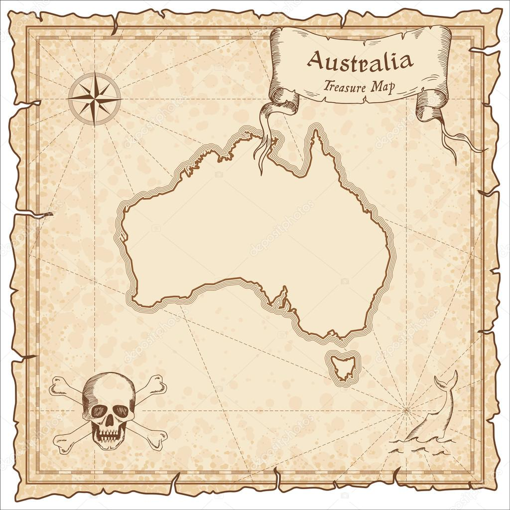 Hervorragend Alten Piraten-Karte Australien. — Stockvektor © gagarych #123666336 FE13