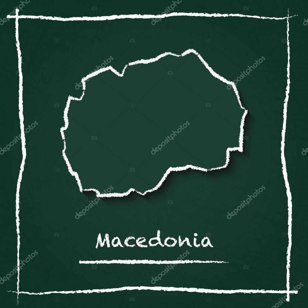 Grüne Karte Mazedonien.Mazedonien Ehemalige Jugoslawische Republik Von Umriss Vektor Karte