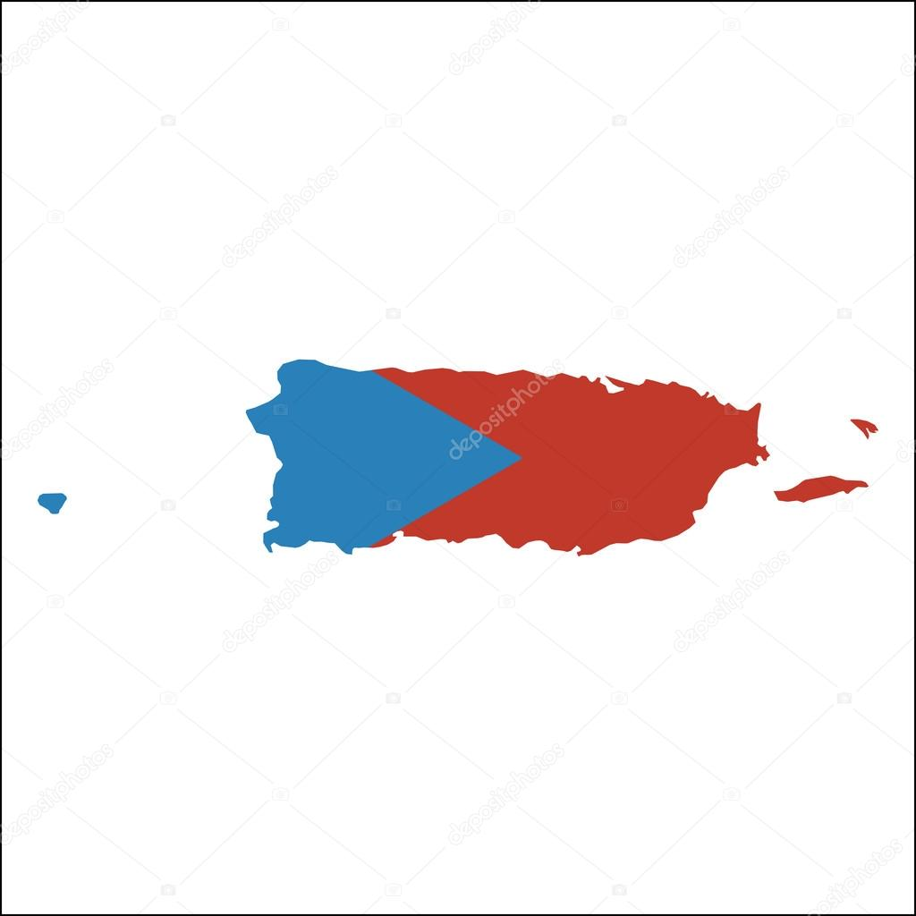 Puerto Rico high resolution map with national flag ...