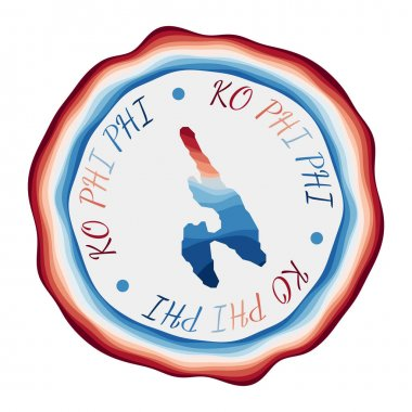 Ko Phi Phi badge Map of the island with beautiful geometric waves and vibrant red blue frame Vivid