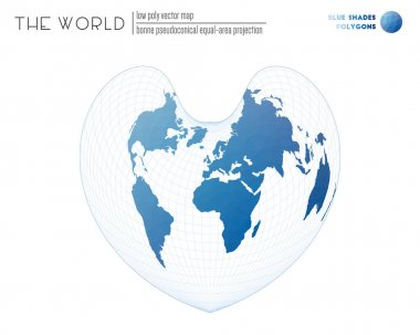 Abstract world map. Bonne pseudoconical equal-area projection of the world. Blue Shades colored polygons. Amazing vector illustration. icon