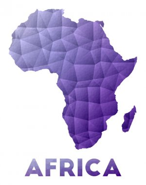Map of Africa Low poly illustration of the continent Purple geometric design Polygonal vector