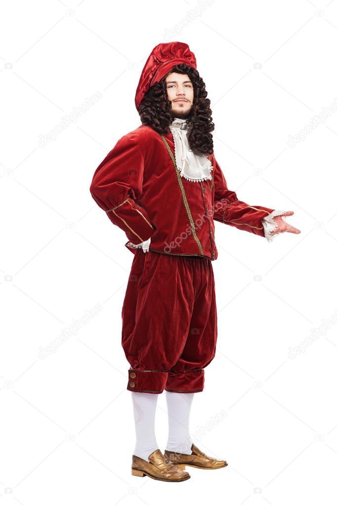 ac50b6fb5 Retrato del hombre de edad media en el traje rojo aislado sobre ...