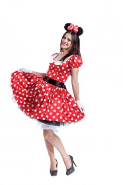 Beautiful girl happy smiling in the retro style costume of a mouse isolated on white