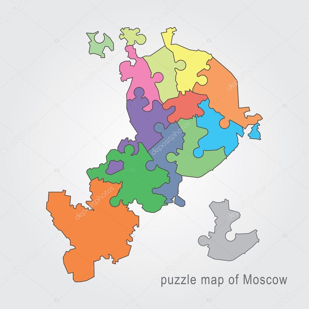 Mapa administrativo de mosc puzzle vector de stock snyde mapa administrativo de mosc puzzle vector de stock gumiabroncs Images