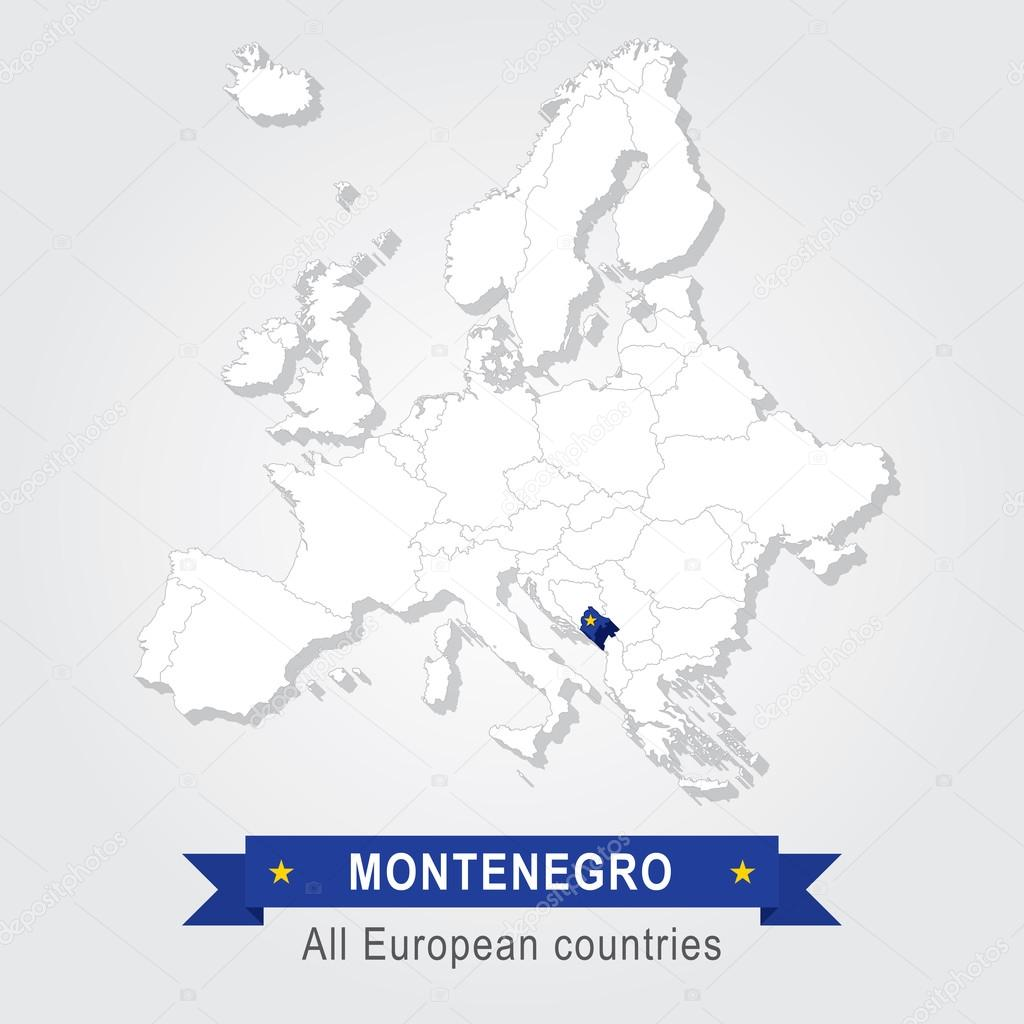 Montenegro On Europe Map.Montenegro Europe Administrative Map Stock Vector C Snyde 98290946