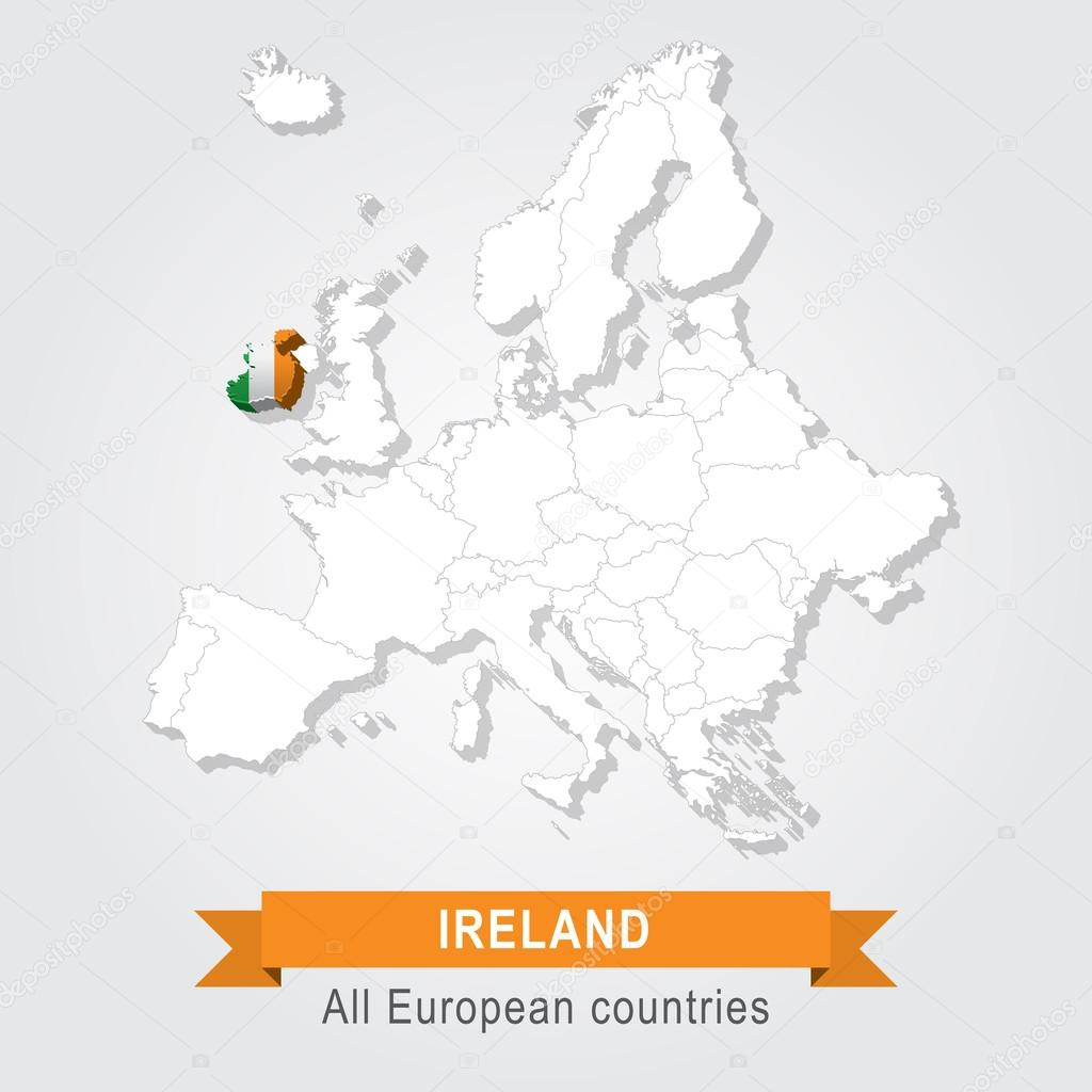 Ireland Europe Administrative Map Stock Vector C Snyde 98292922