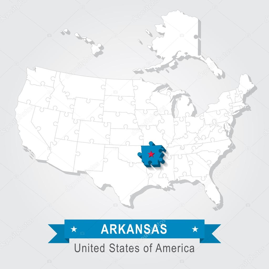 Arkansas state USA administrative map Stock Vector Snyde