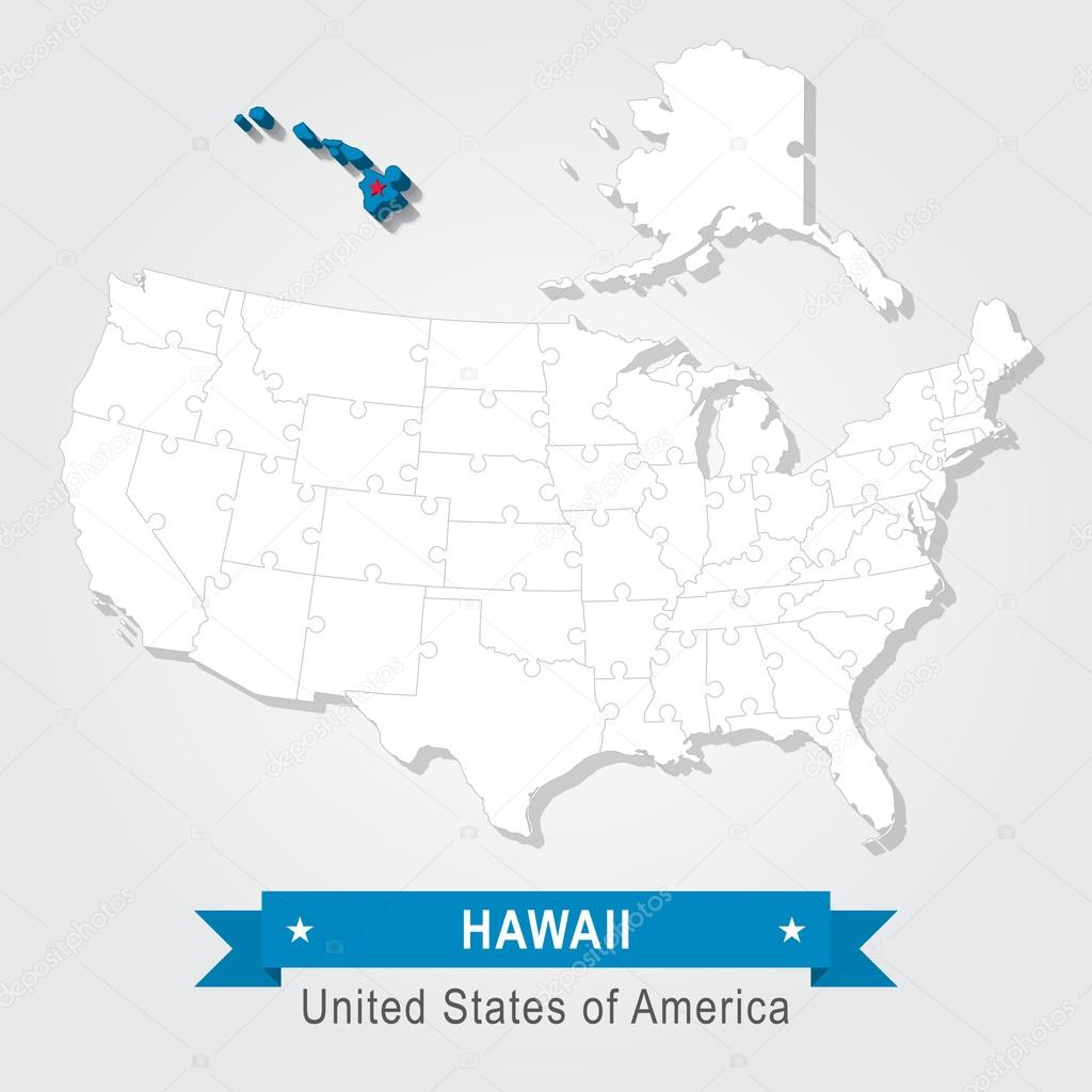 Map Of North America And Hawaii.Hawaii State Usa Administrative Map North America Puzzle Stock