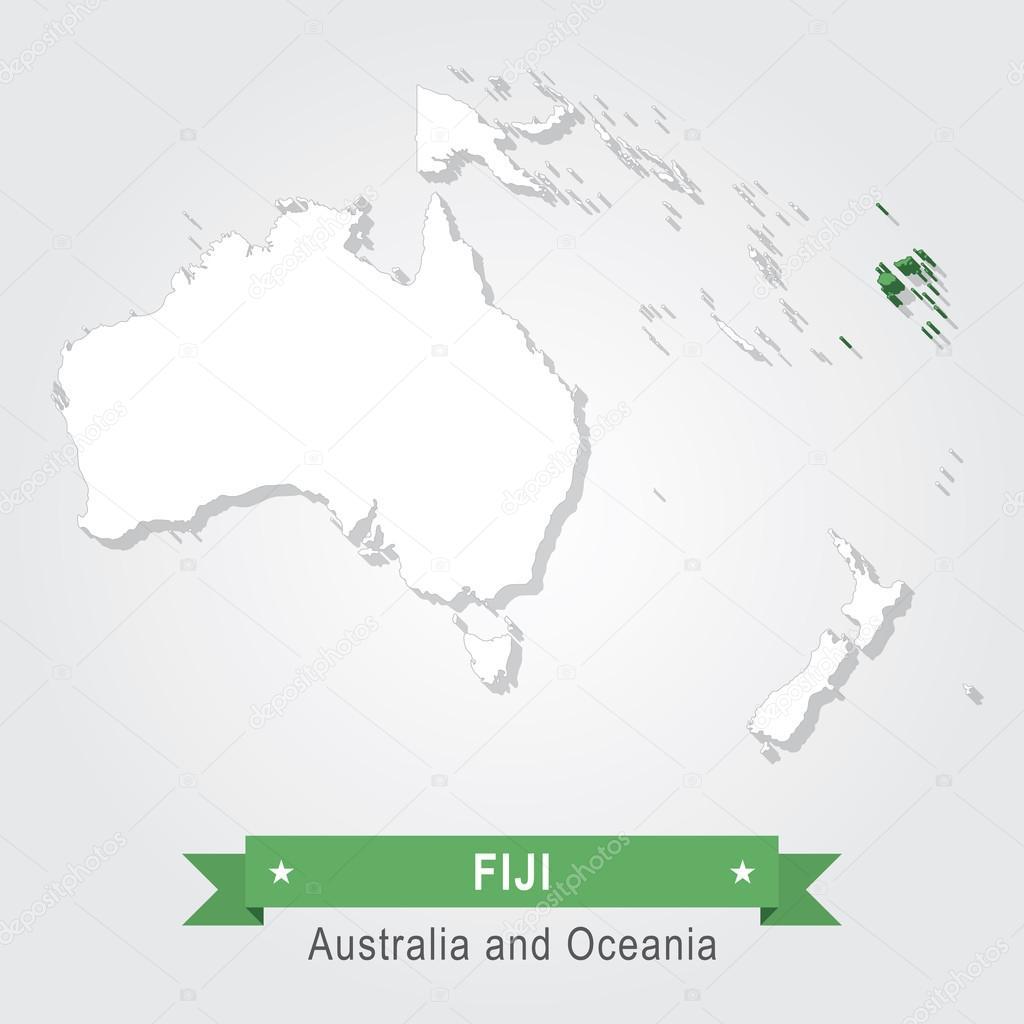 fidzsi szigetek térkép Fidzsi szigetek. Ausztrália és Óceánia Térkép — Stock Vektor