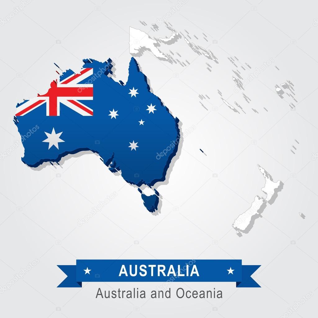 austrlia mapa da austrlia e oceania verso da bandeira vetor de snyde