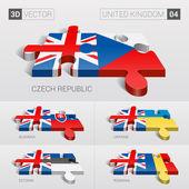 United Kingdom and Czech, Slovakia, Ukraine, Estonia, Romania Flag. 3d vector puzzle. Set 04.
