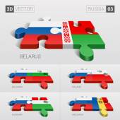 Fotografie Russia and Belarus, Bulgaria, Poland, Hungary, Moldavia Flag. 3d vector puzzle. Set 03.