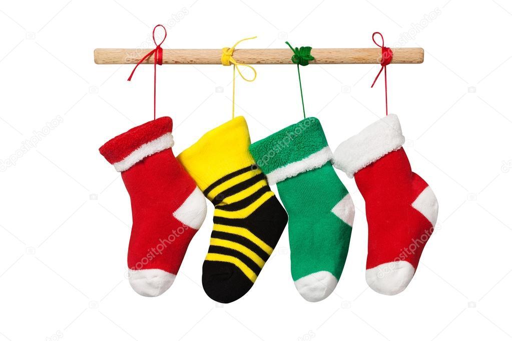 Strumpf Weihnachten Socken. isoliert auf weißem Hintergrund. Bunte ...