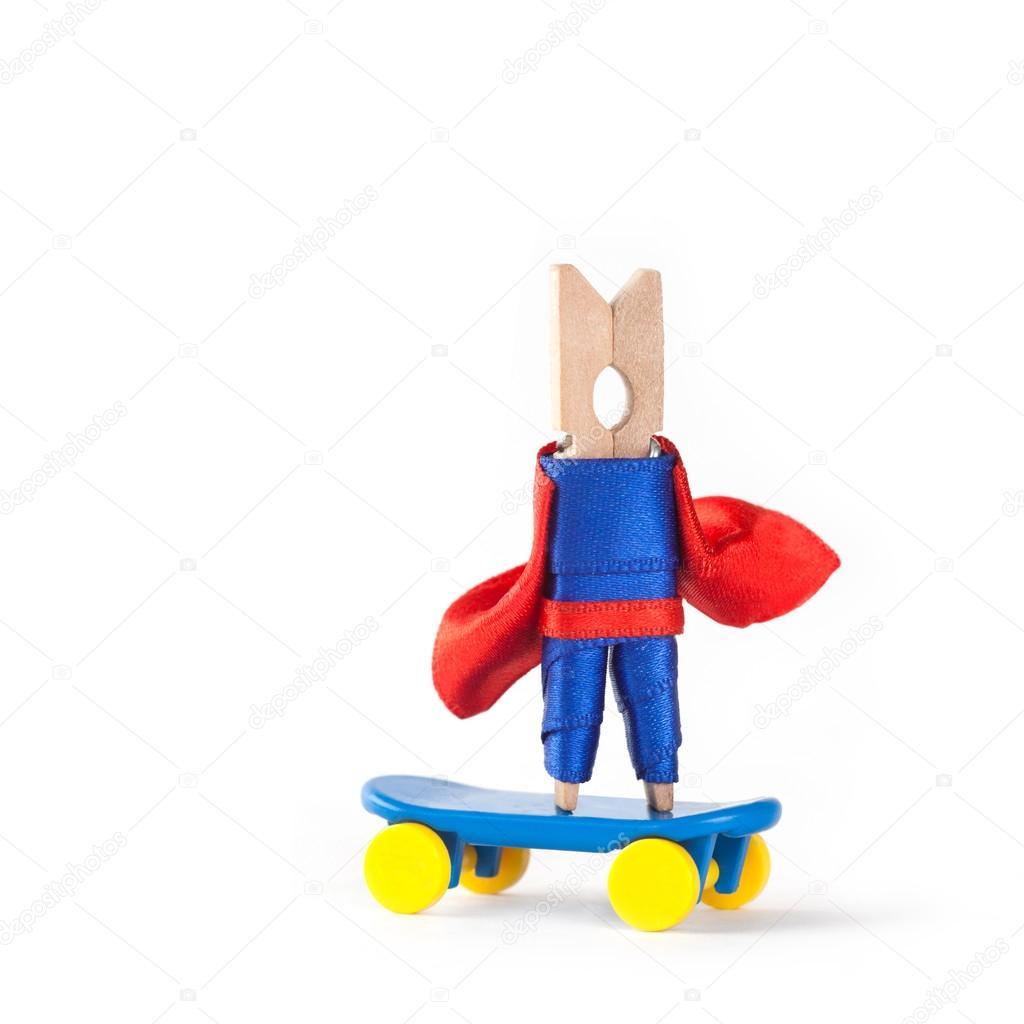 Skateboarder Coach Hero Skating Clothespin Superhero Sport
