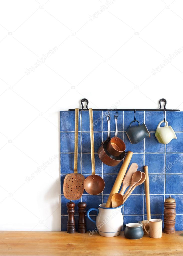 Utensilios de cocina latón, accesorios de chef. Colgante conjunto de ...