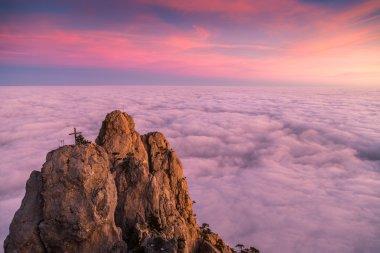 Magic sunset clouds in Crimea. Crimea travel.