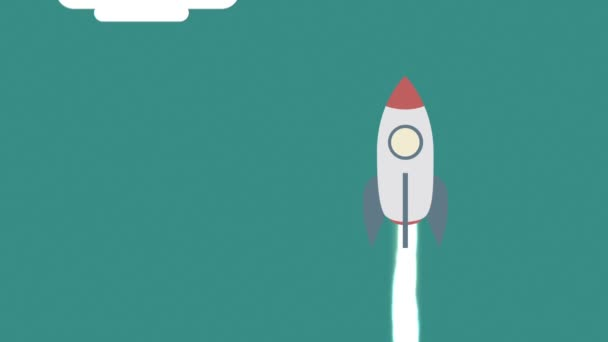 A simple rocket in flat design flying up in the sky