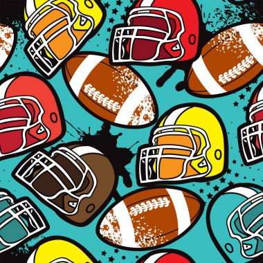 American football pattern. Abstract background with balls and helmet. Bright print for textiles, sportswear, wrapping paper icon