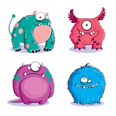 Four funny furry monsters on white background stock vector