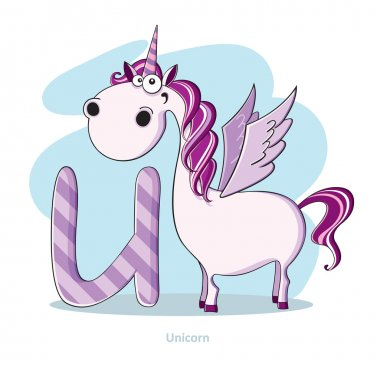 Cartoons Alphabet - Letter U with funny Unicorn