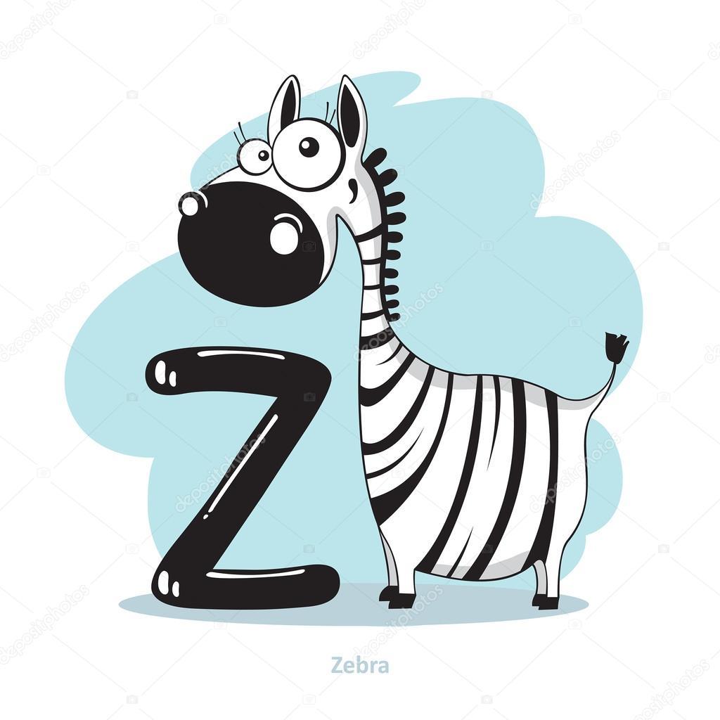 Cartoni animati di alfabeto lettera z con zebra divertente
