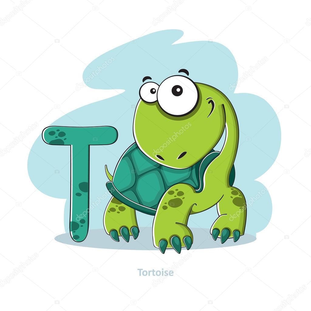 Abecedario Letra T Con Divertida Tortuga De Dibujos Animados