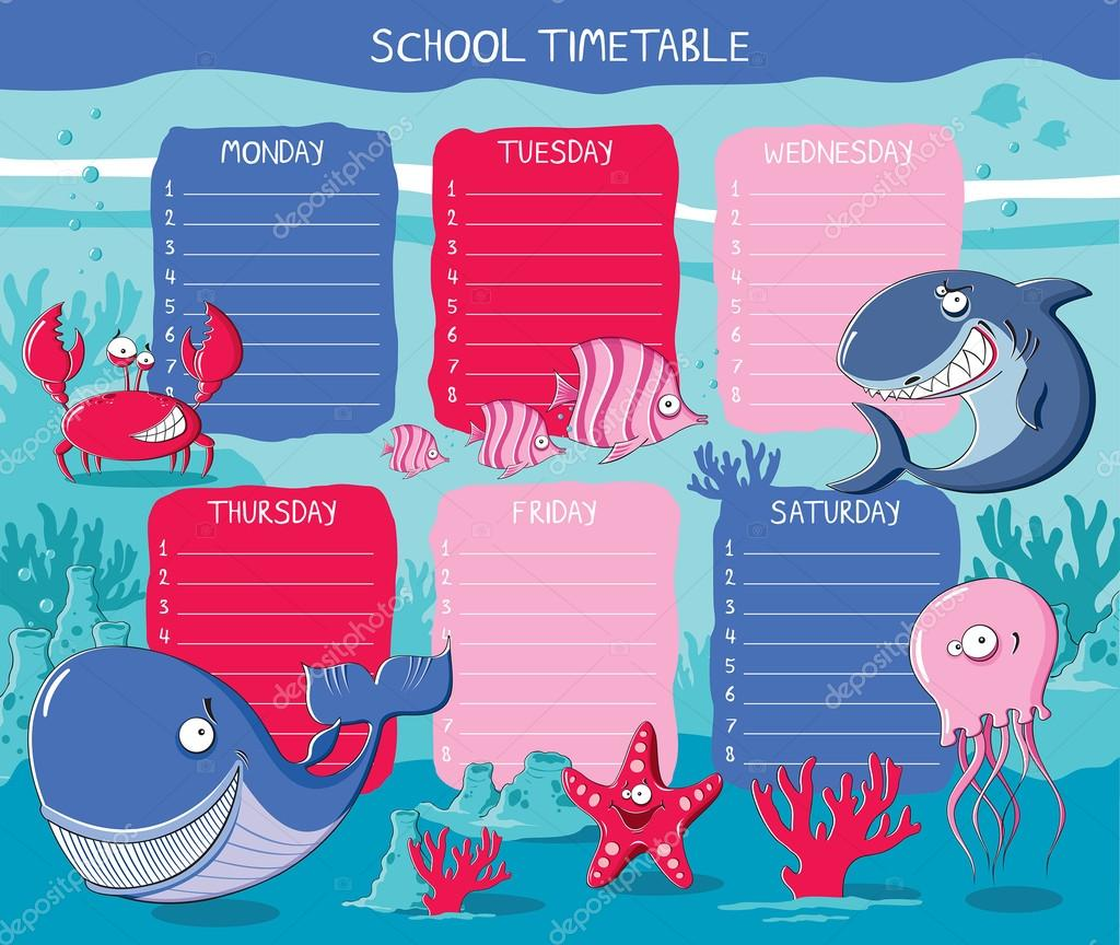 School timetable with funny Sea animals Vector OlgaGrig – School Time Table Designs