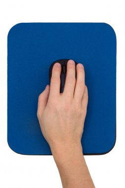 Hand on a computer mouse on a blue mouse pad
