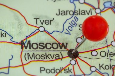 Pin on a map of Moscow