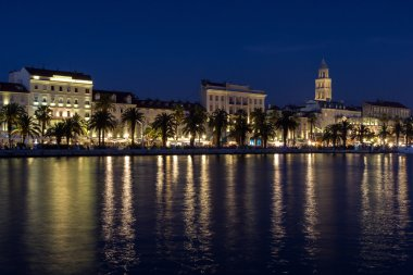 Riva promenade in Split at dark
