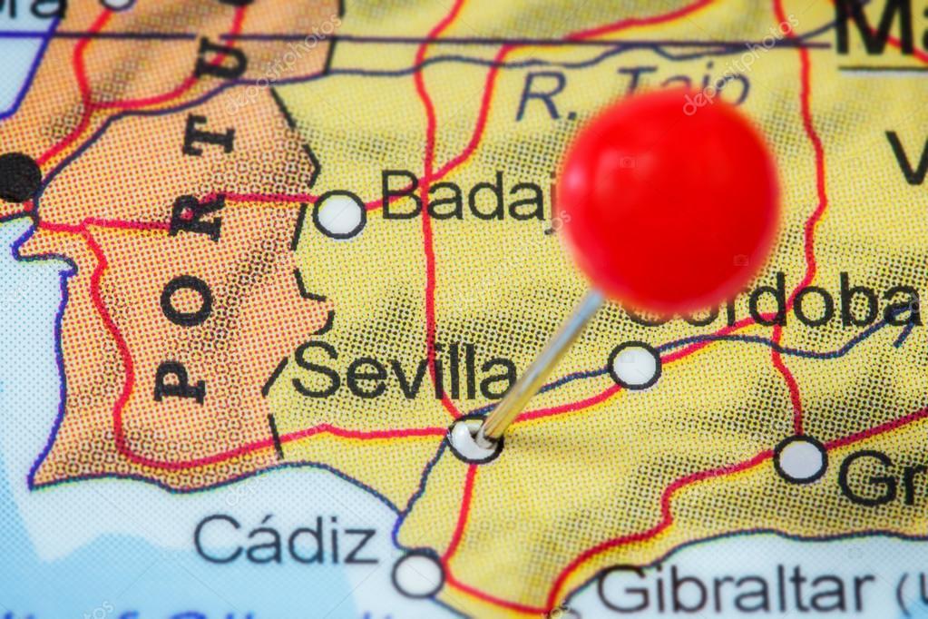 sevilha mapa Pino no mapa de Sevilha — Fotografias de Stock © Tuomas_Lehtinen  sevilha mapa