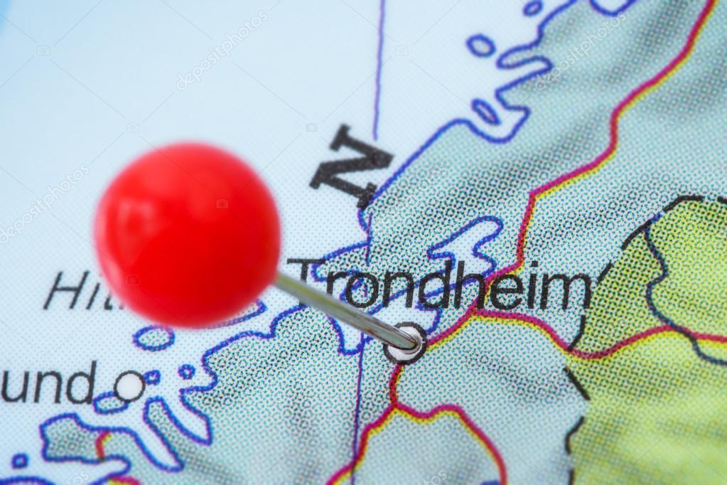 Pin in a map of Trondheim Stock Photo TuomasLehtinen 97125156