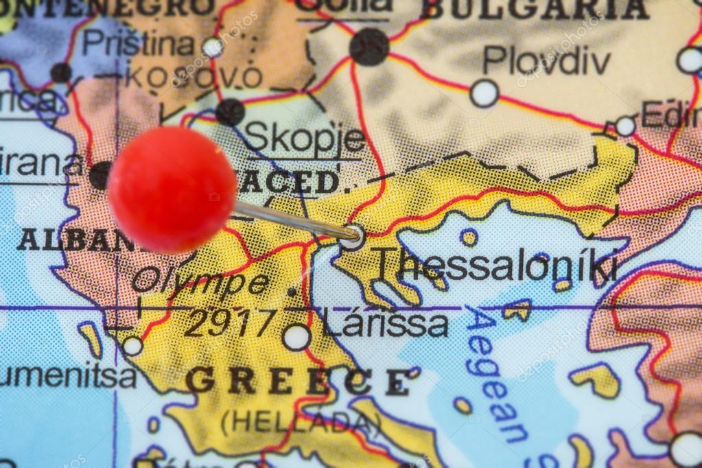 Thessaloniki Karte.Fixieren Sie In Einer Karte Von Thessaloniki Stockfoto
