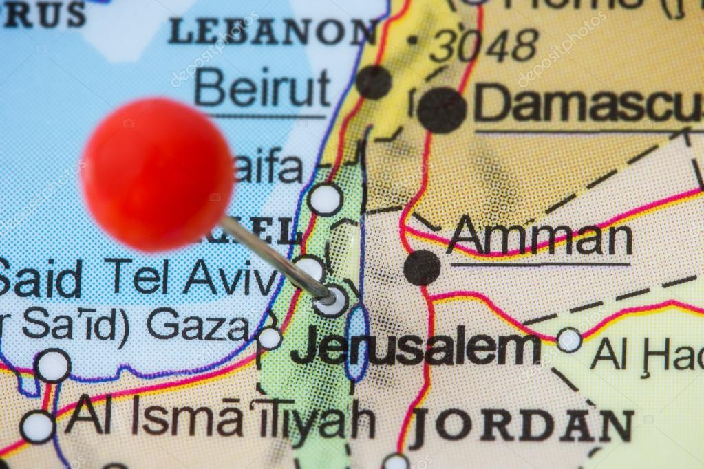 Pin in a map of Jerusalem Stock Photo TuomasLehtinen 99047966