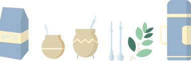 Set of flat vectors for yerba mate accessories and tradition including teacup for the herb, typical straw, flask for hot water, plant and bag. South America beverage. icon