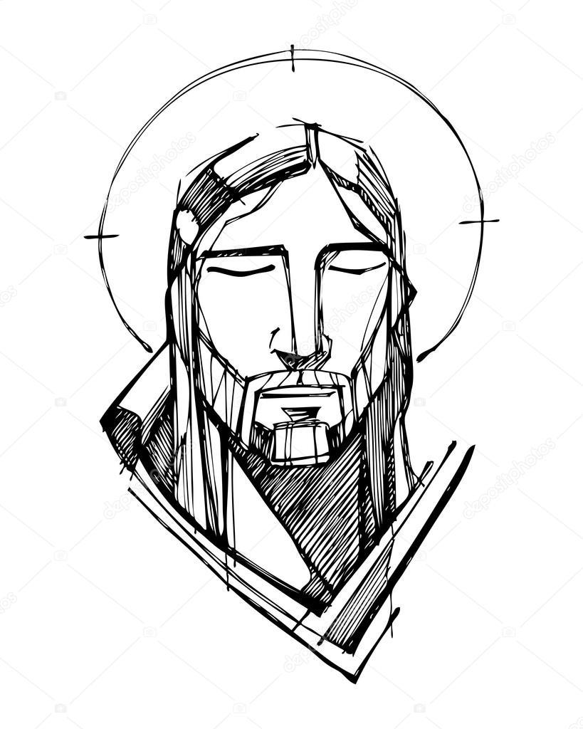 Line Drawing Jesus Face : Twarz jezusa chrystusa — grafika wektorowa bernardojbp