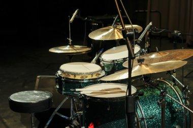 Drum set on stage