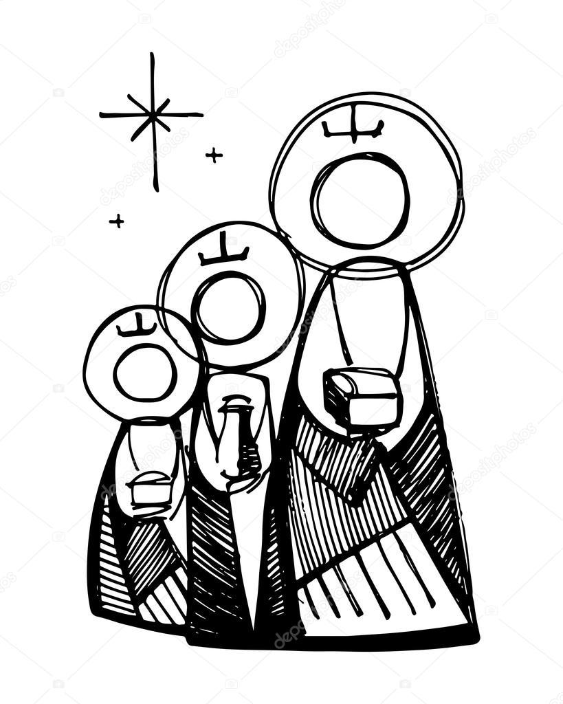 Símbolo religioso de tres hombres sabios — Vector de stock ...