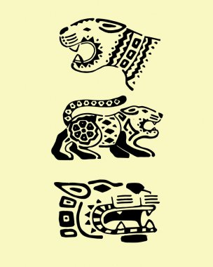 Prehispanic jaguars illustration