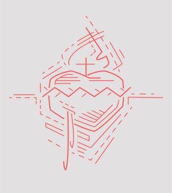 Sacred Heart Hand drawn