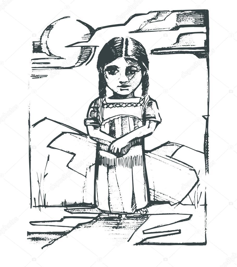 Dibujos Niños Indigenas Niña Indígena De Dibujo Vector