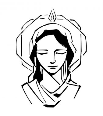 Mary at Pentecost drawing
