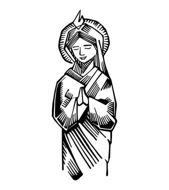 Mary at Pentecost drawing