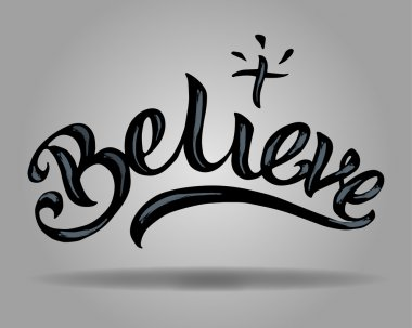Lettering Believe with cross
